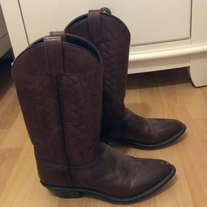 Shoes - cowboy boots brown leather (real leather)
